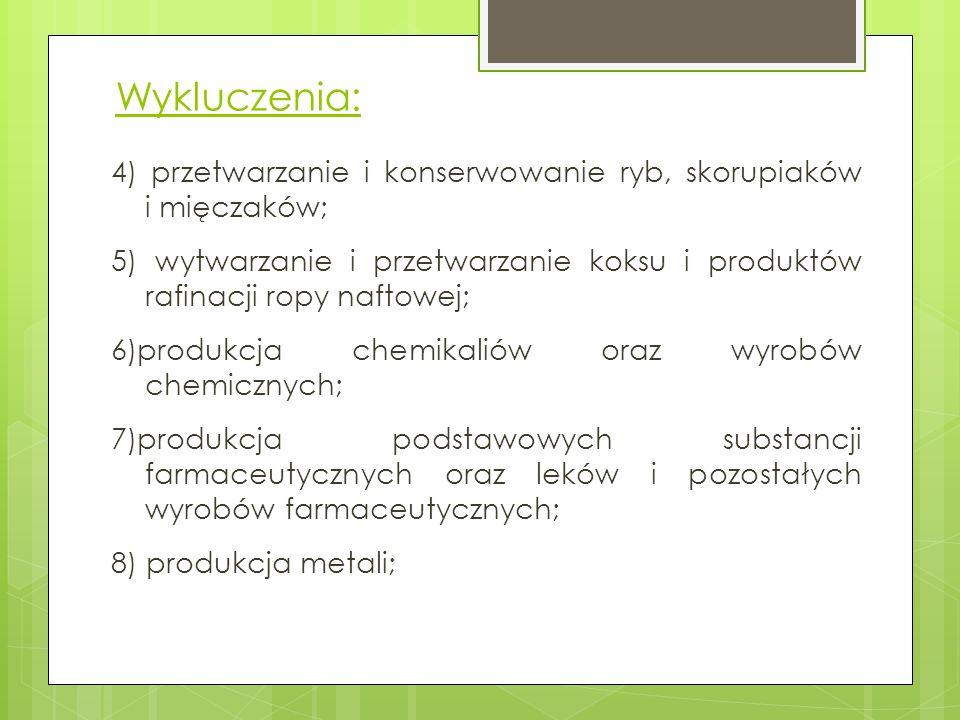 Wykluczenia: 4) przetwarzanie i konserwowanie ryb, skorupiaków i mięczaków; 5) wytwarzanie i przetwarzanie koksu i produktów rafinacji ropy naftowej;