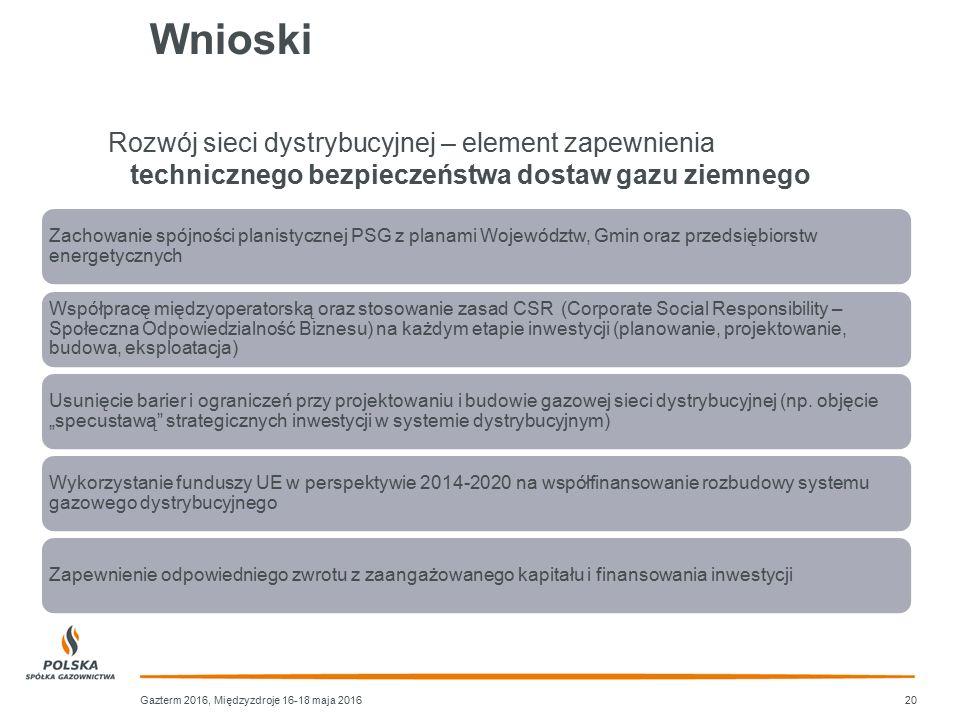 Wnioski Zachowanie spójności planistycznej PSG z planami Województw, Gmin oraz przedsiębiorstw energetycznych Współpracę międzyoperatorską oraz stosow