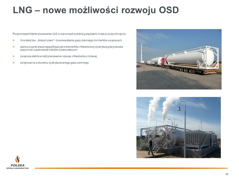 """LNG – nowe możliwości rozwoju OSD 28 Rozpowszechnienie stosowania LNG w warunkach polskiej gospodarki może przyczynić się do:  likwidacji tzw. """"biały"""