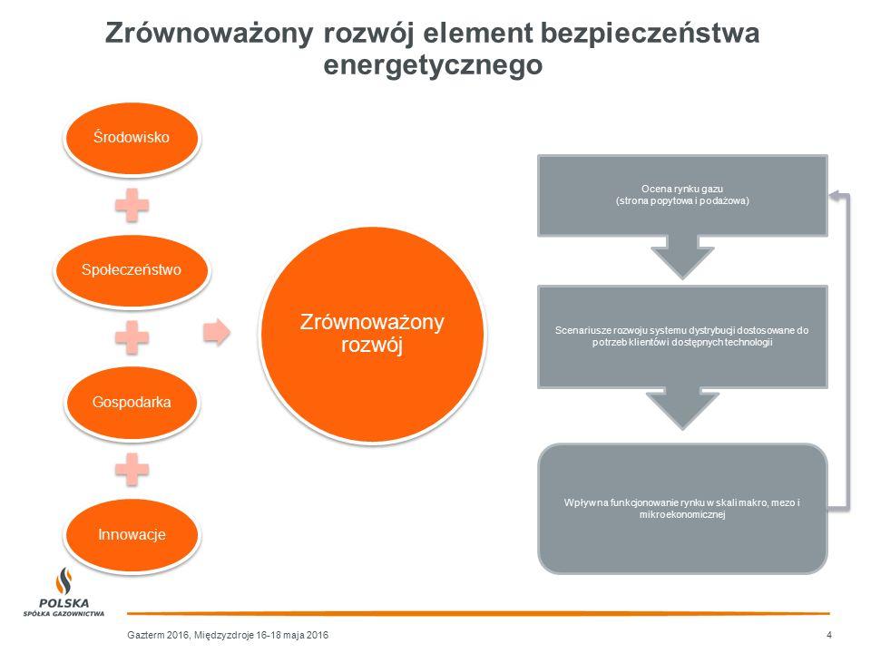 4 ŚrodowiskoSpołeczeństwoGospodarkaInnowacje Zrównoważony rozwój Ocena rynku gazu (strona popytowa i podażowa) Scenariusze rozwoju systemu dystrybucji