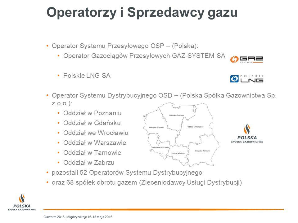 Operatorzy i Sprzedawcy gazu Operator Systemu Przesyłowego OSP – (Polska): Operator Gazociągów Przesyłowych GAZ-SYSTEM SA Polskie LNG SA Operator Syst