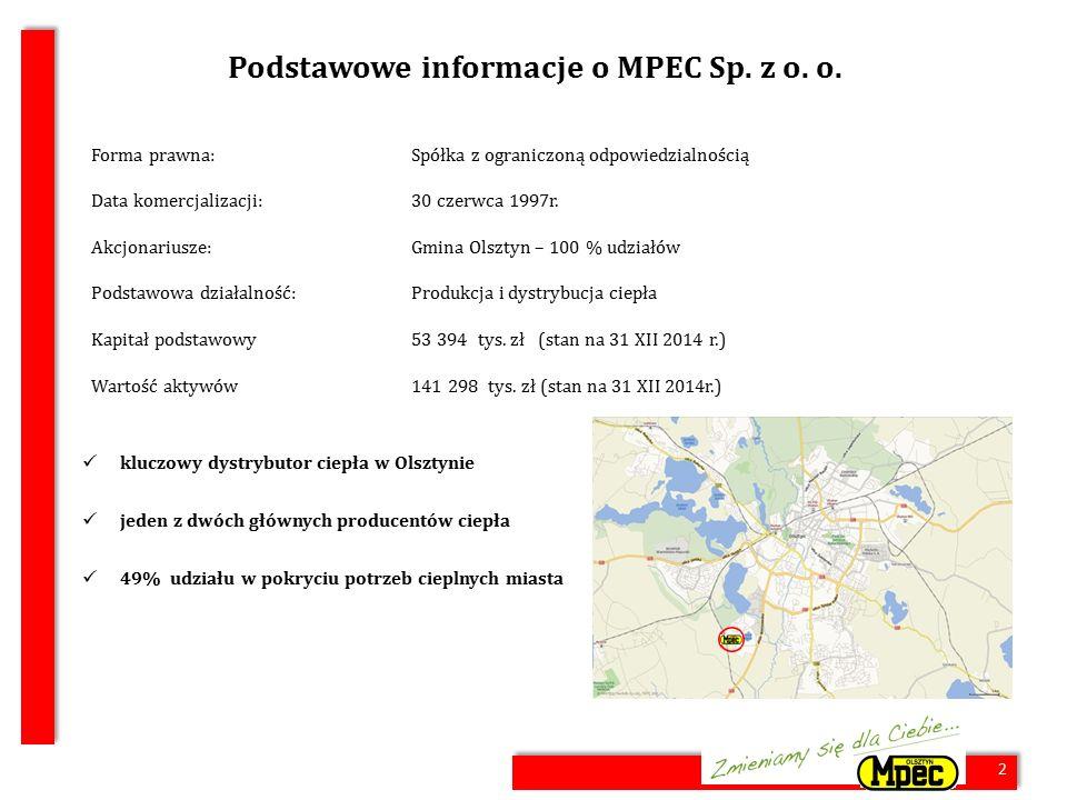 2 Podstawowe informacje o MPEC Sp. z o. o. Forma prawna:Spółka z ograniczoną odpowiedzialnością Data komercjalizacji:30 czerwca 1997r. Akcjonariusze:G