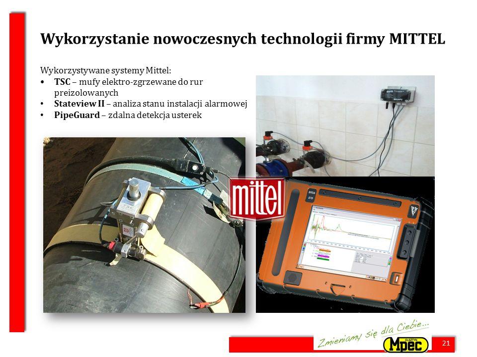 21 Wykorzystanie nowoczesnych technologii firmy MITTEL Wykorzystywane systemy Mittel: TSC – mufy elektro-zgrzewane do rur preizolowanych Stateview II – analiza stanu instalacji alarmowej PipeGuard – zdalna detekcja usterek 21
