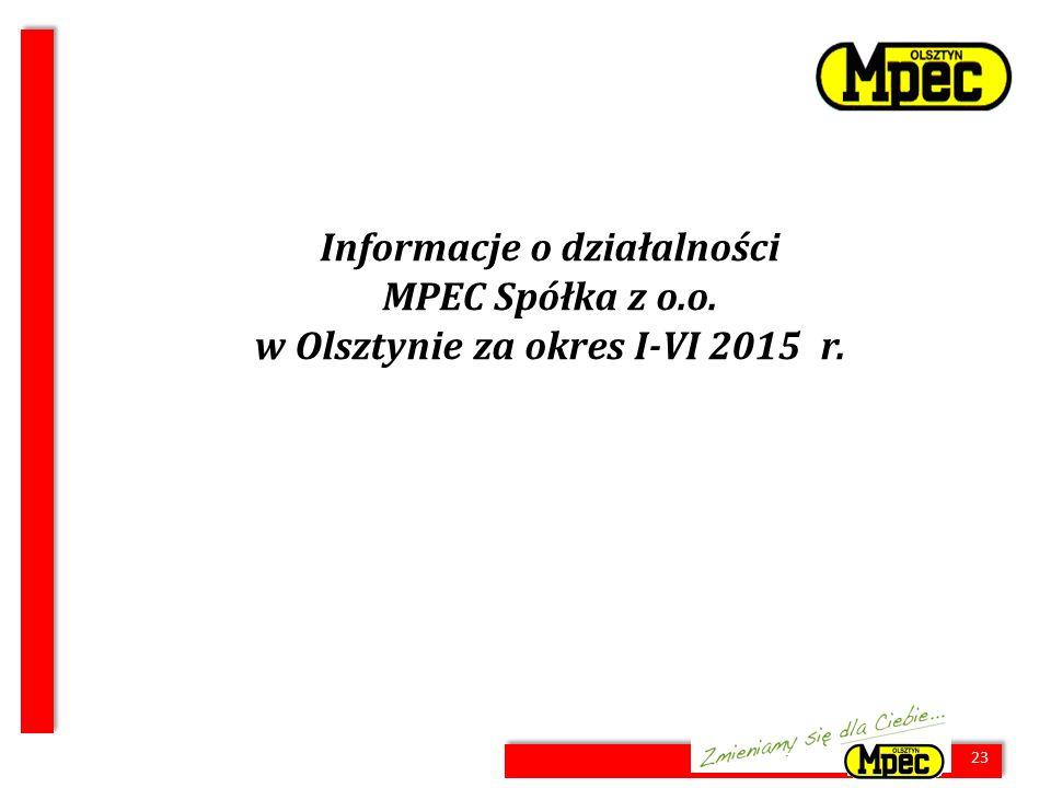 23 Informacje o działalności MPEC Spółka z o.o. w Olsztynie za okres I-VI 2015 r. 23