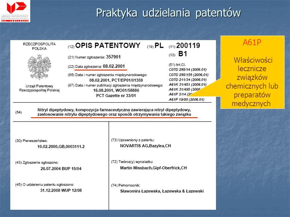Praktyka udzielania patentów A61P Właściwości lecznicze związków chemicznych lub preparatów medycznych