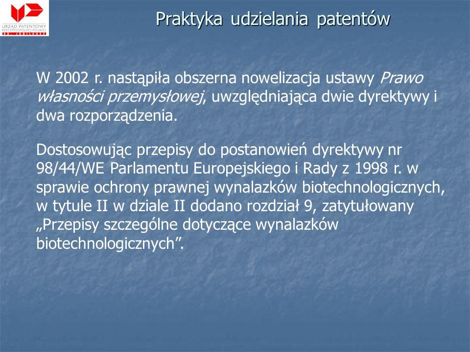 W 2002 r. nastąpiła obszerna nowelizacja ustawy Prawo własności przemysłowej, uwzględniająca dwie dyrektywy i dwa rozporządzenia. Dostosowując przepis
