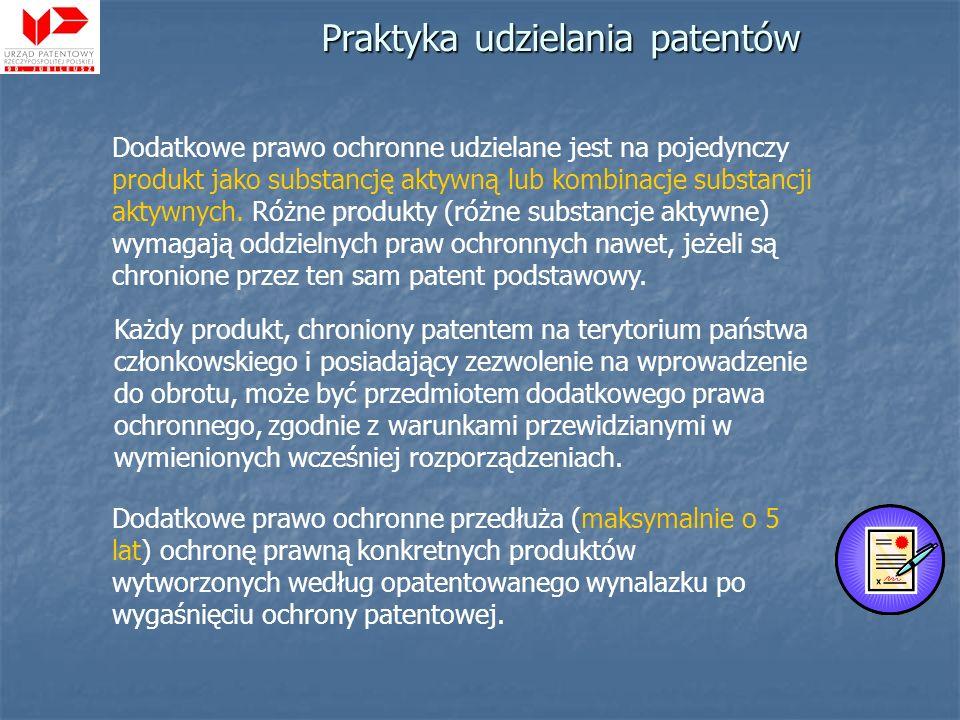 Praktyka udzielania patentów Każdy produkt, chroniony patentem na terytorium państwa członkowskiego i posiadający zezwolenie na wprowadzenie do obrotu