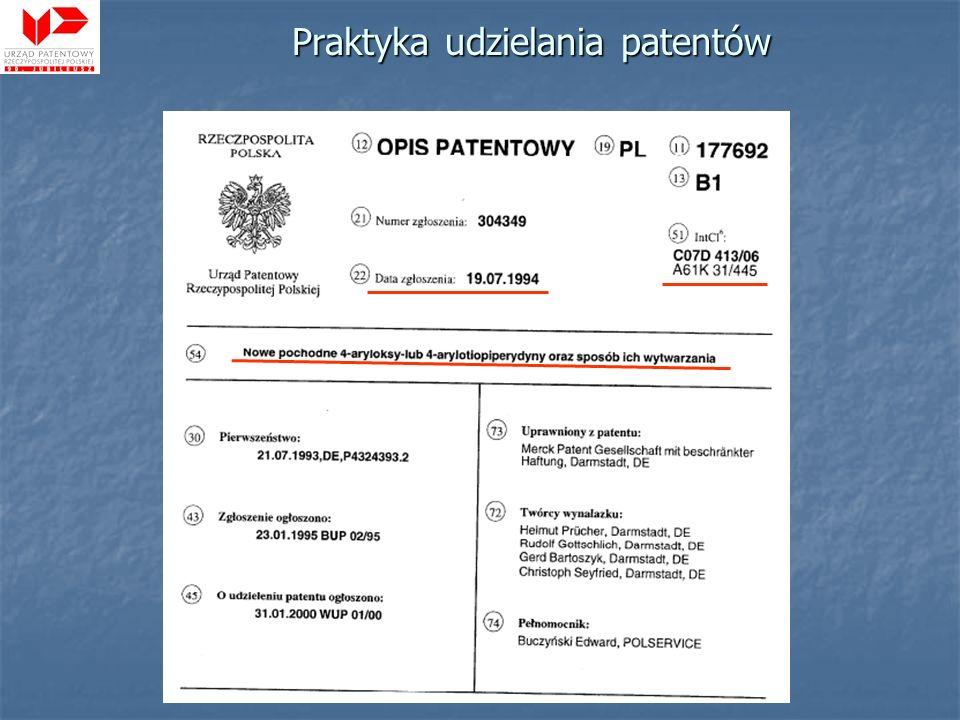 Praktyka udzielania patentów