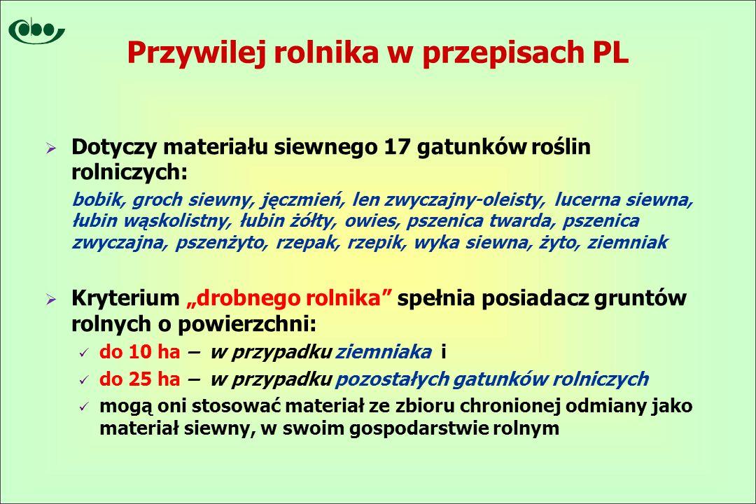"""Przywilej rolnika w przepisach PL  Dotyczy materiału siewnego 17 gatunków roślin rolniczych: bobik, groch siewny, jęczmień, len zwyczajny-oleisty, lucerna siewna, łubin wąskolistny, łubin żółty, owies, pszenica twarda, pszenica zwyczajna, pszenżyto, rzepak, rzepik, wyka siewna, żyto, ziemniak  Kryterium """"drobnego rolnika spełnia posiadacz gruntów rolnych o powierzchni: do 10 ha – w przypadku ziemniaka i do 25 ha – w przypadku pozostałych gatunków rolniczych mogą oni stosować materiał ze zbioru chronionej odmiany jako materiał siewny, w swoim gospodarstwie rolnym"""