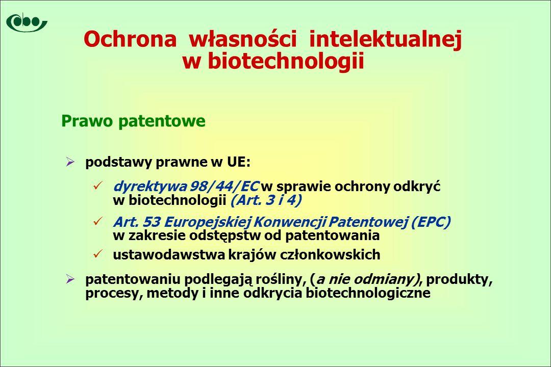 Ochrona własności intelektualnej w biotechnologii  podstawy prawne w UE: dyrektywa 98/44/EC w sprawie ochrony odkryć w biotechnologii (Art.