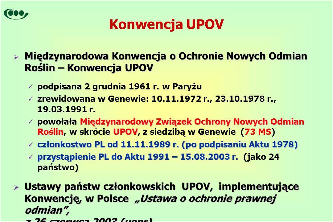 Konwencja UPOV  Międzynarodowa Konwencja o Ochronie Nowych Odmian Roślin – Konwencja UPOV podpisana 2 grudnia 1961 r.