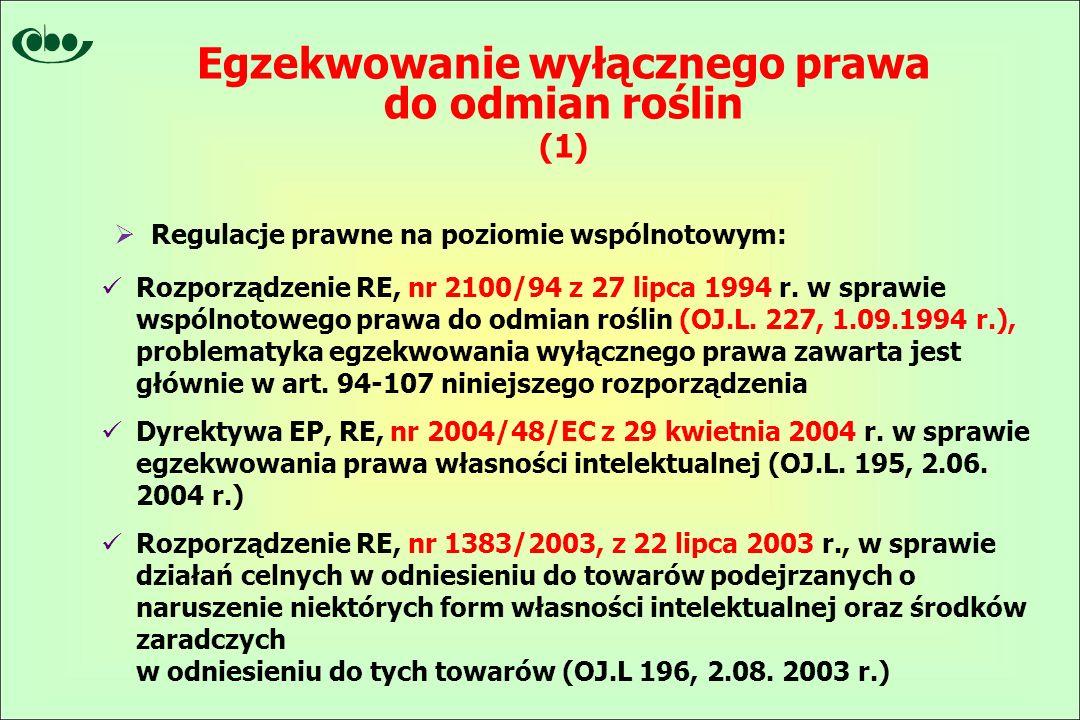  Regulacje prawne na poziomie wspólnotowym: Rozporządzenie RE, nr 2100/94 z 27 lipca 1994 r.