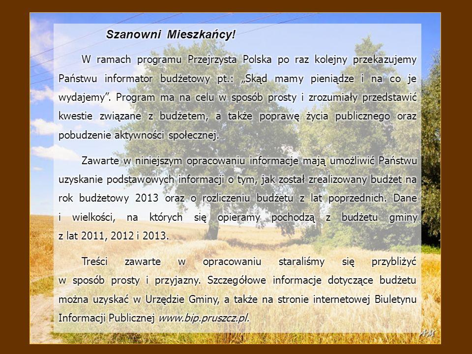 Gmina Pruszcz pozyskuje środki finansowe z dochodów oraz przychodów, które wraz z wydatkami i rozchodami stanowią budżet gminy.