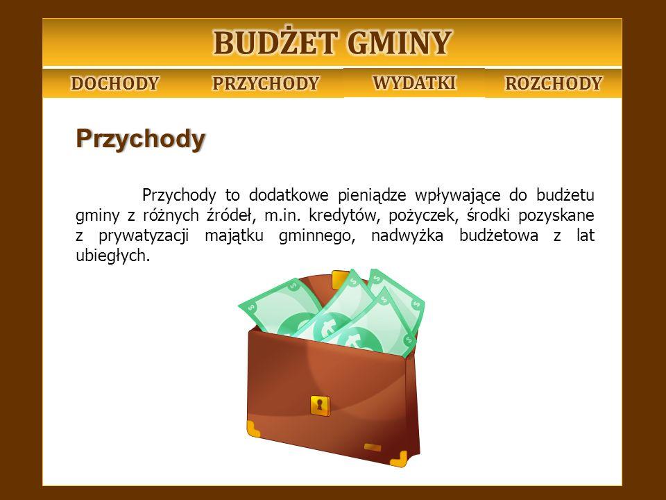 Wydatki Wydatki to suma pieniędzy wydana w ciągu roku na konkretne cele m.in.