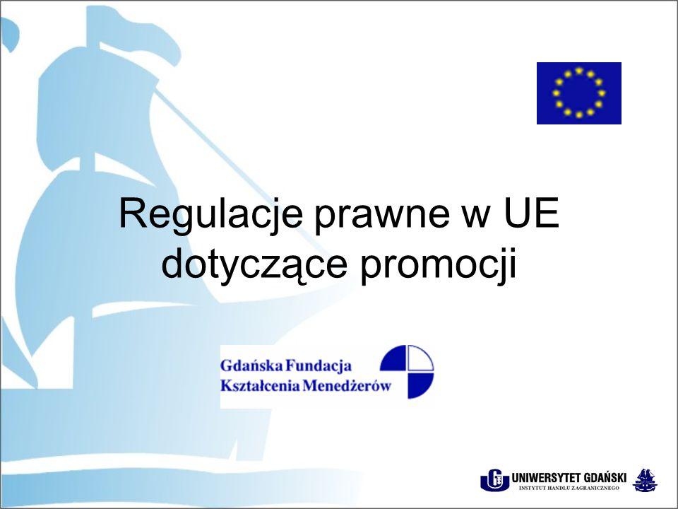 Definicja reklamy w UE Dyrektywa w sprawie ujednolicenia przepisów prawnych dotyczących przekazu i działalności telewizyjnej (89/552) Reklamą telewizyjną jest:  każda wypowiedź  towarzysząca działalności handlowej, produkcyjnej, rzemieślniczej albo wykonaniu wolnego zawodu  wyemitowana w telewizji przez publicznego lub prywatnego nadawcę  za odpłatnością lub inną formą wynagrodzenia  w celu zbycia towarów i usług