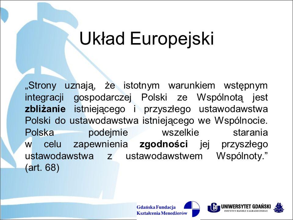 """Układ Europejski """"Zbliżanie przepisów prawnych obejmie w szczególności następujące dziedziny: prawo celne, prawo o spółkach, prawo bankowe, rachunkowość przedsiębiorstw, opodatkowanie, własność intelektualną, ochronę pracownika w miejscu pracy, usługi finansowe, zasady konkurencji, ochronę zdrowia i życia ludzi, zwierząt i roślin, ochronę konsumenta, pośredni system opodatkowania, przepisy techniczne i normy, transport i środowisko naturalne. (art."""