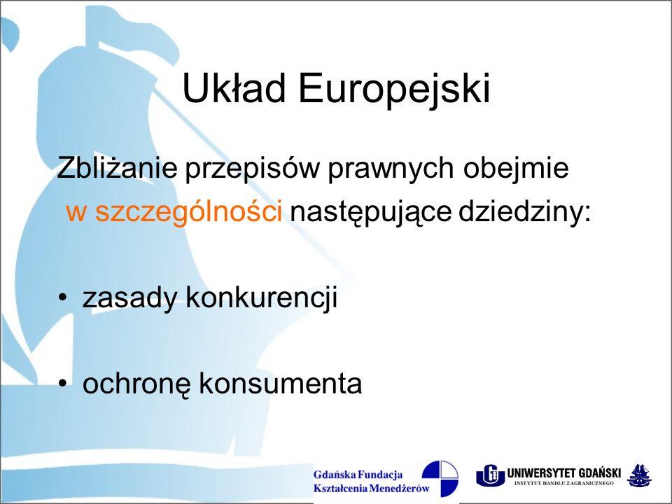 Układ Europejski Zbliżanie przepisów prawnych obejmie w szczególności następujące dziedziny: zasady konkurencji ochronę konsumenta
