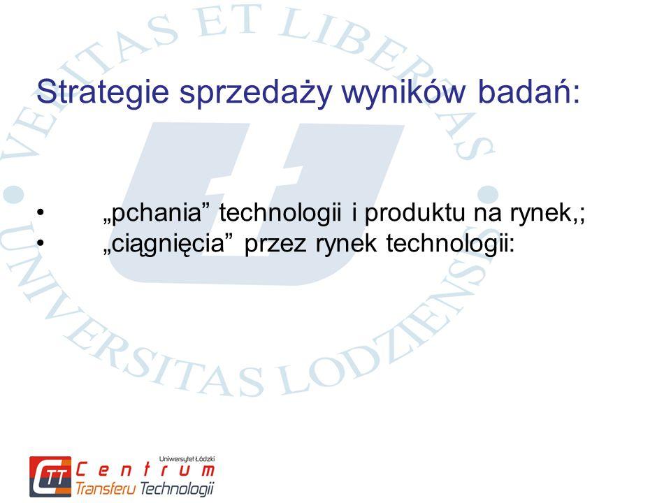 """Strategie sprzedaży wyników badań: """"pchania technologii i produktu na rynek,; """"ciągnięcia przez rynek technologii:"""