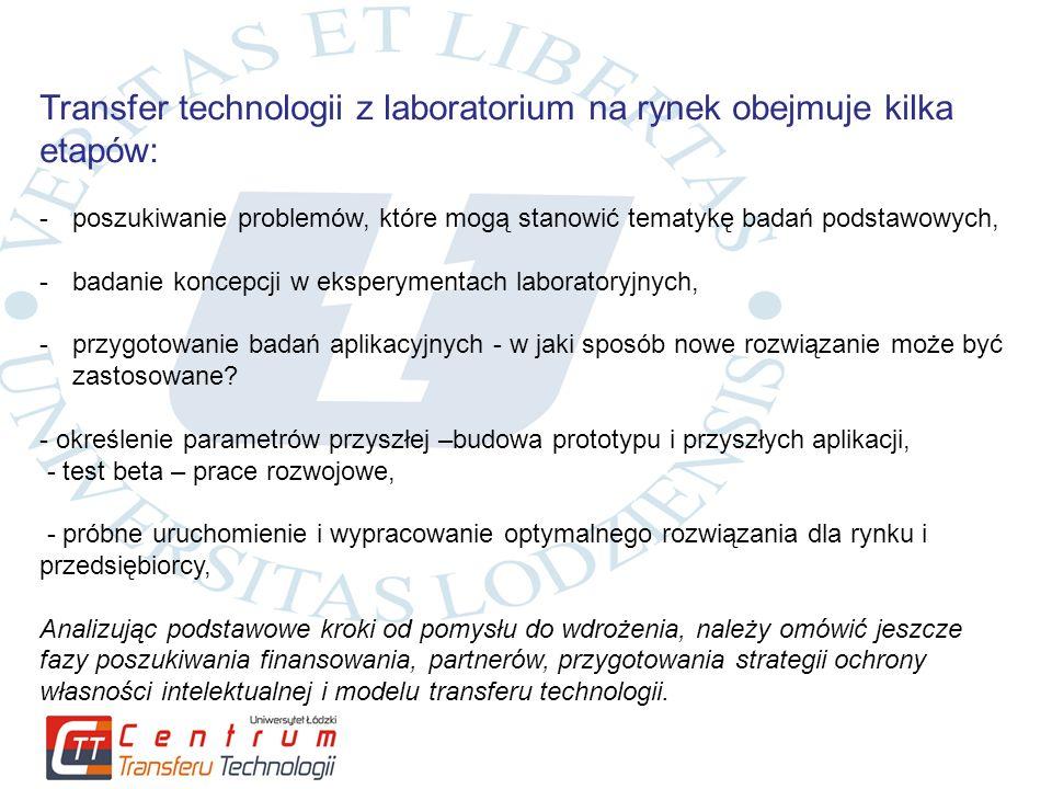 Transfer technologii z laboratorium na rynek obejmuje kilka etapów: -poszukiwanie problemów, które mogą stanowić tematykę badań podstawowych, -badanie koncepcji w eksperymentach laboratoryjnych, -przygotowanie badań aplikacyjnych - w jaki sposób nowe rozwiązanie może być zastosowane.
