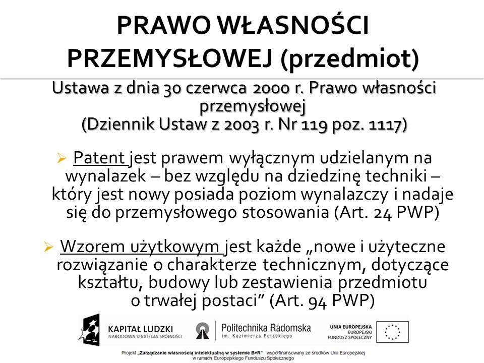 Ustawa z dnia 30 czerwca 2000 r. Prawo własności przemysłowej (Dziennik Ustaw z 2003 r.