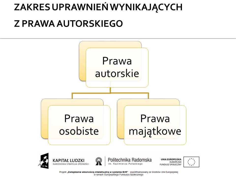 Prawa autorskie Prawa osobiste Prawa majątkowe