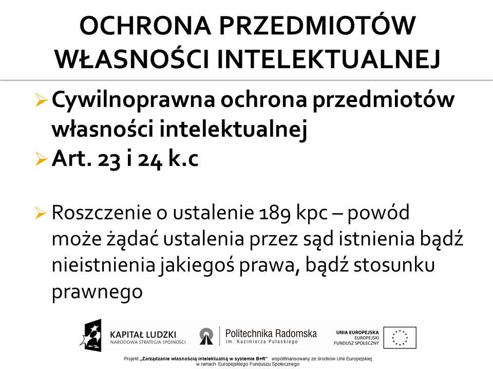  Cywilnoprawna ochrona przedmiotów własności intelektualnej  Art.