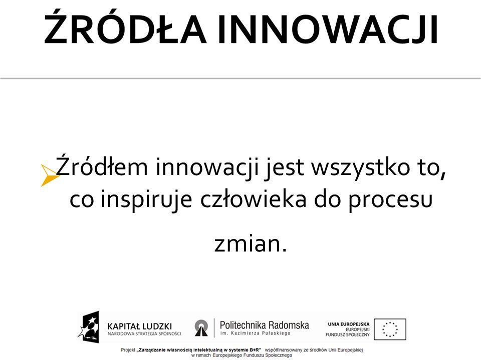  Źródłem innowacji jest wszystko to, co inspiruje człowieka do procesu zmian.