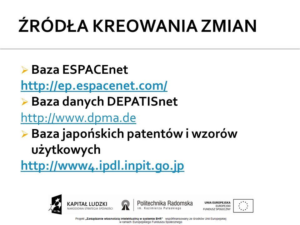  Baza ESPACEnet http://ep.espacenet.com/  Baza danych DEPATISnet http://www.dpma.de  Baza japońskich patentów i wzorów użytkowych http://www4.ipdl.inpit.go.jp