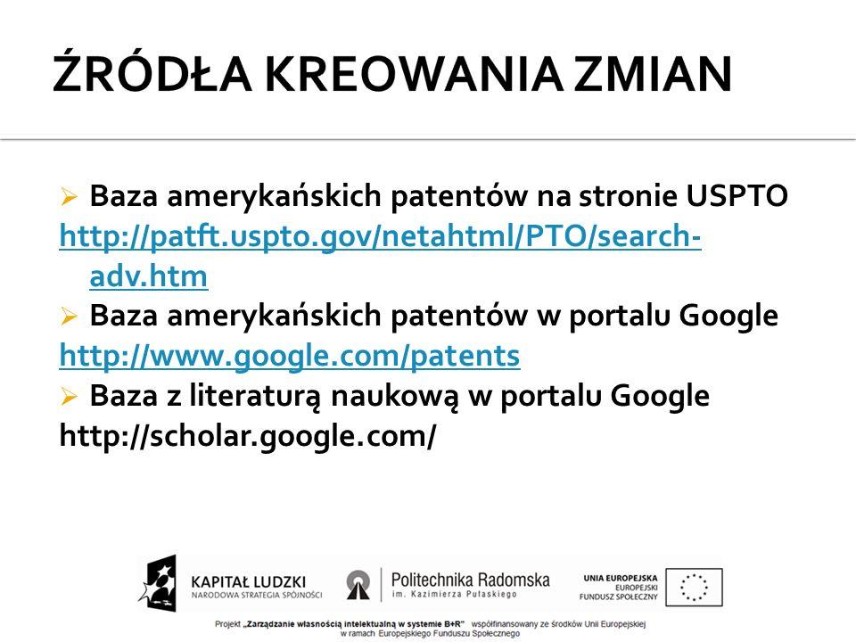  Baza amerykańskich patentów na stronie USPTO http://patft.uspto.gov/netahtml/PTO/search- adv.htm  Baza amerykańskich patentów w portalu Google http://www.google.com/patents  Baza z literaturą naukową w portalu Google http://scholar.google.com/