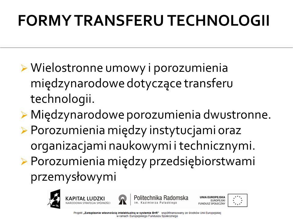  Wielostronne umowy i porozumienia międzynarodowe dotyczące transferu technologii.