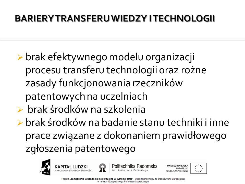  brak efektywnego modelu organizacji procesu transferu technologii oraz rożne zasady funkcjonowania rzeczników patentowych na uczelniach  brak środków na szkolenia  brak środków na badanie stanu techniki i inne prace związane z dokonaniem prawidłowego zgłoszenia patentowego