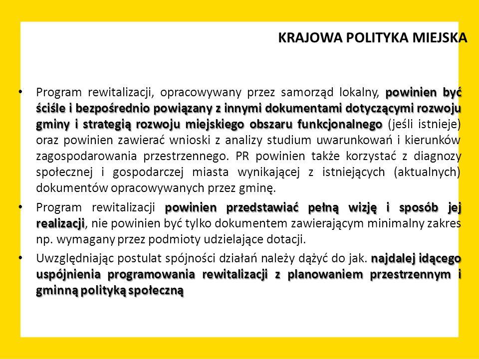 KRAJOWA POLITYKA MIEJSKA powinien być ściśle i bezpośrednio powiązany z innymi dokumentami dotyczącymi rozwoju gminy i strategią rozwoju miejskiego ob