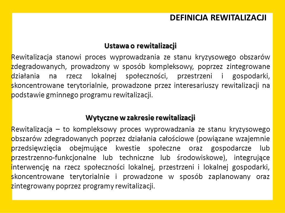 DEFINICJA REWITALIZACJI Ustawa o rewitalizacji Rewitalizacja stanowi proces wyprowadzania ze stanu kryzysowego obszarów zdegradowanych, prowadzony w s