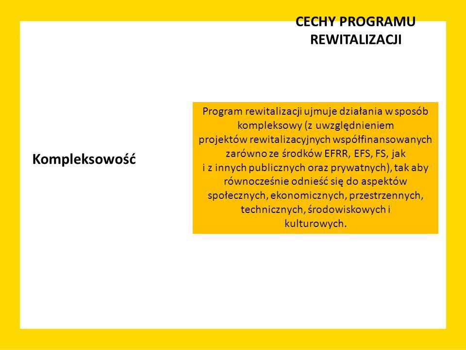 CECHY PROGRAMU REWITALIZACJI Program rewitalizacji ujmuje działania w sposób kompleksowy (z uwzględnieniem projektów rewitalizacyjnych współfinansowan