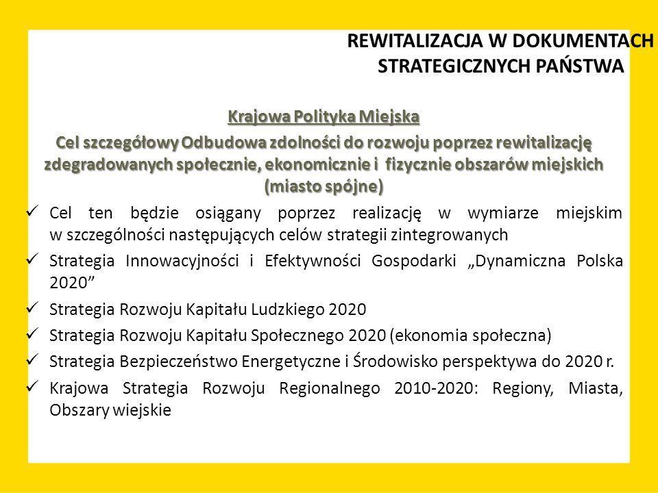 Krajowa Polityka Miejska Cel szczegółowy Odbudowa zdolności do rozwoju poprzez rewitalizację zdegradowanych społecznie, ekonomicznie i fizycznie obsza