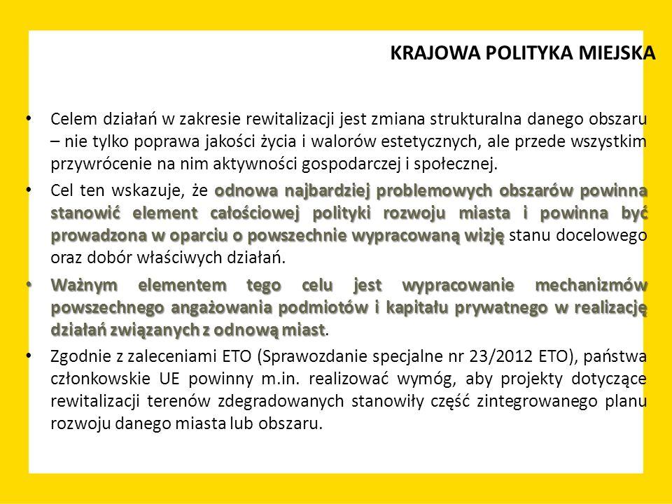 muszą być skoncentrowane Działania rewitalizacyjne muszą być skoncentrowane na rozwiązywaniu negatywnych zjawisk społecznych, będących podstawową przyczyną kryzysu danego obszaru gminy.