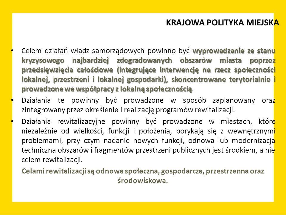 ważną częścią myślenia o rozwoju miasta Rewitalizacja jest zatem ważną częścią myślenia o rozwoju miasta – powinna stać się kluczowym programem społecznym i gospodarczym miasta w odniesieniu do jego obszarów problemowych.