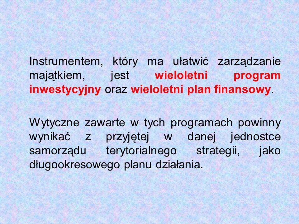 Instrumentem, który ma ułatwić zarządzanie majątkiem, jest wieloletni program inwestycyjny oraz wieloletni plan finansowy.