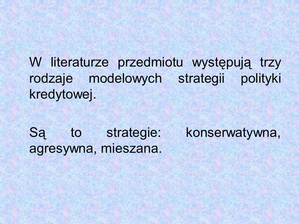 W literaturze przedmiotu występują trzy rodzaje modelowych strategii polityki kredytowej.