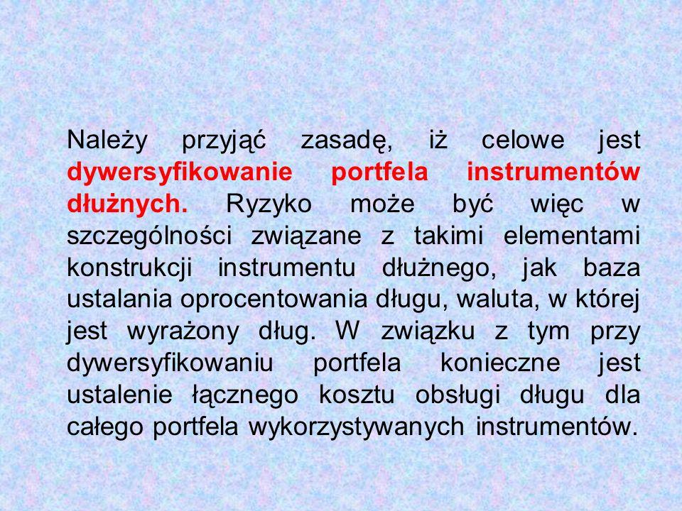 Należy przyjąć zasadę, iż celowe jest dywersyfikowanie portfela instrumentów dłużnych.