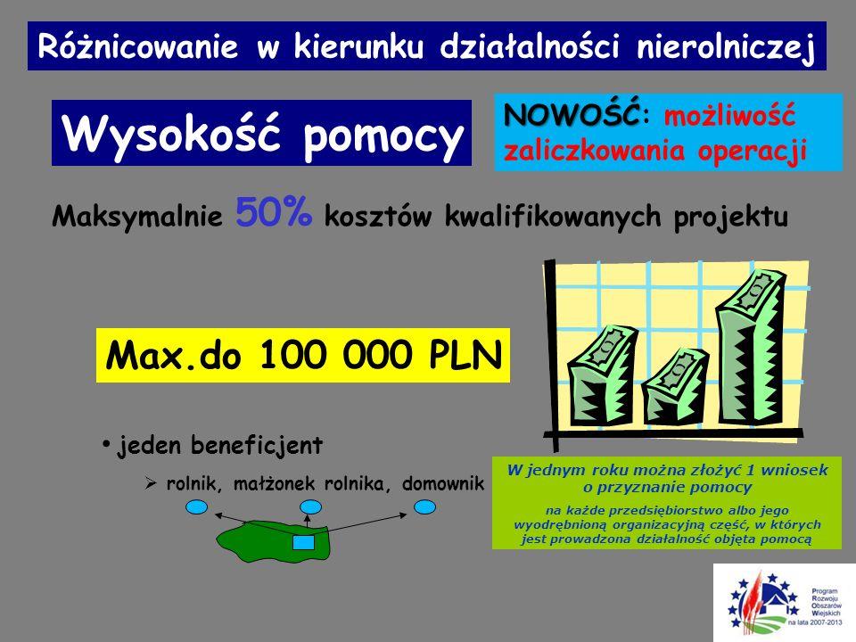 Wysokość pomocy Max.do 100 000 PLN jeden beneficjent  rolnik, małżonek rolnika, domownik Maksymalnie 50% kosztów kwalifikowanych projektu Różnicowani
