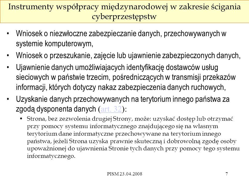 PISM 23.04.200818 Zabezpieczenie danych a retencja danych preservation of data v.