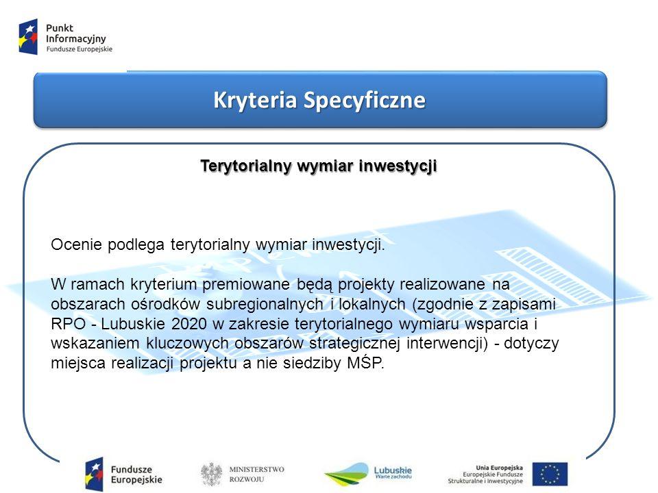 Kryteria Specyficzne Terytorialny wymiar inwestycji Ocenie podlega terytorialny wymiar inwestycji.