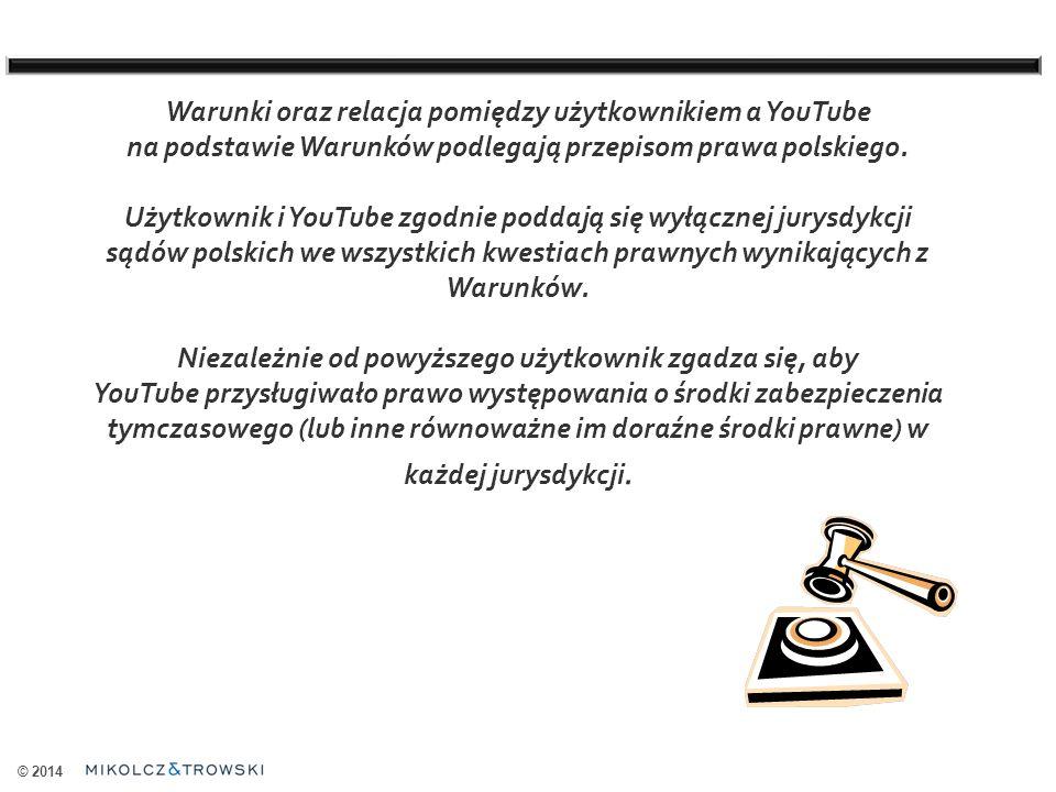 © 2014 Warunki oraz relacja pomiędzy użytkownikiem a YouTube na podstawie Warunków podlegają przepisom prawa polskiego.