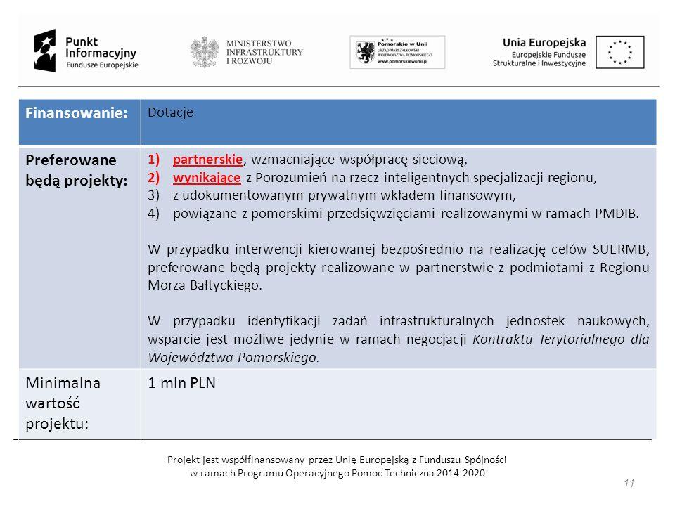 Projekt jest współfinansowany przez Unię Europejską z Funduszu Spójności w ramach Programu Operacyjnego Pomoc Techniczna 2014-2020 Finansowanie: Dotacje Preferowane będą projekty: 1)partnerskie, wzmacniające współpracę sieciową, 2)wynikające z Porozumień na rzecz inteligentnych specjalizacji regionu, 3)z udokumentowanym prywatnym wkładem finansowym, 4)powiązane z pomorskimi przedsięwzięciami realizowanymi w ramach PMDIB.