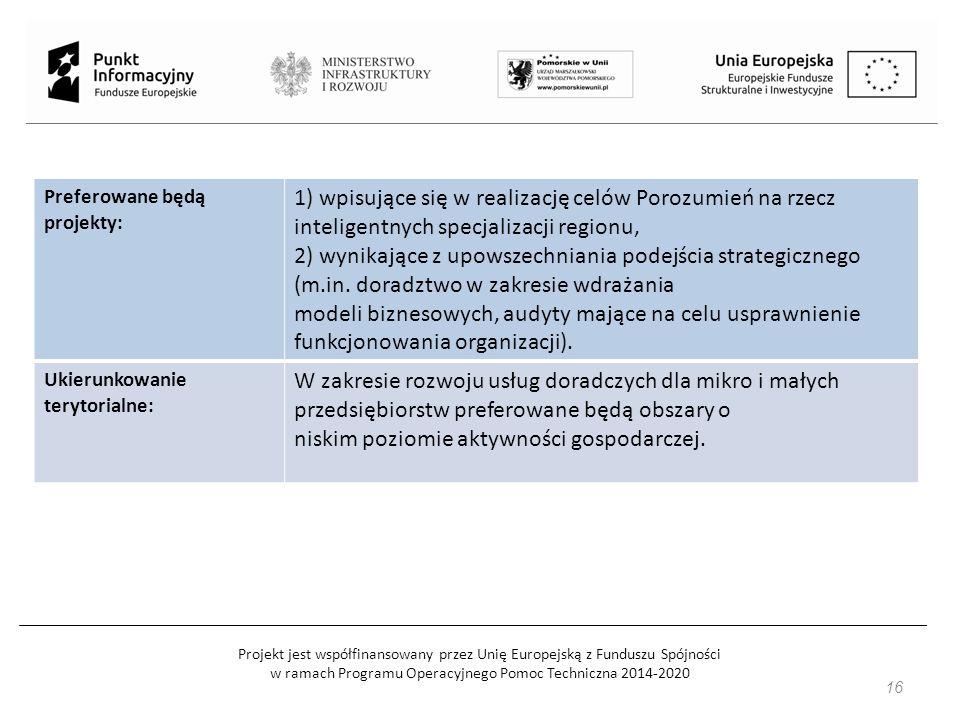 Projekt jest współfinansowany przez Unię Europejską z Funduszu Spójności w ramach Programu Operacyjnego Pomoc Techniczna 2014-2020 Preferowane będą projekty: 1) wpisujące się w realizację celów Porozumień na rzecz inteligentnych specjalizacji regionu, 2) wynikające z upowszechniania podejścia strategicznego (m.in.