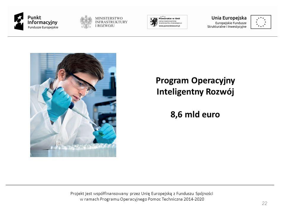 Projekt jest współfinansowany przez Unię Europejską z Funduszu Spójności w ramach Programu Operacyjnego Pomoc Techniczna 2014-2020 Program Operacyjny Inteligentny Rozwój 8,6 mld euro 22