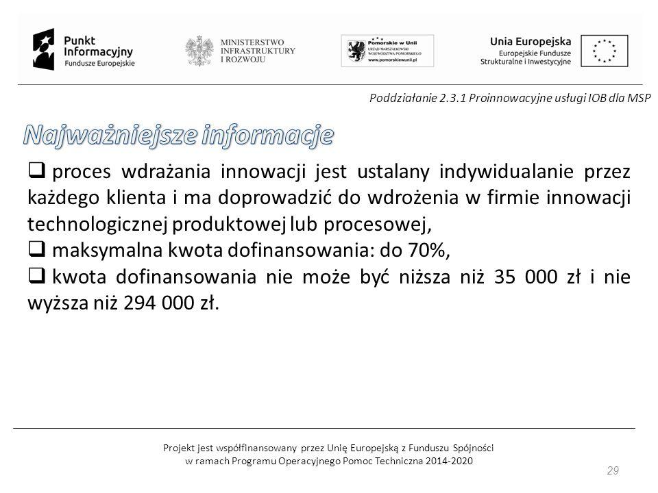 Projekt jest współfinansowany przez Unię Europejską z Funduszu Spójności w ramach Programu Operacyjnego Pomoc Techniczna 2014-2020 29 Poddziałanie 2.3.1 Proinnowacyjne usługi IOB dla MSP  proces wdrażania innowacji jest ustalany indywidualanie przez każdego klienta i ma doprowadzić do wdrożenia w firmie innowacji technologicznej produktowej lub procesowej,  maksymalna kwota dofinansowania: do 70%,  kwota dofinansowania nie może być niższa niż 35 000 zł i nie wyższa niż 294 000 zł.