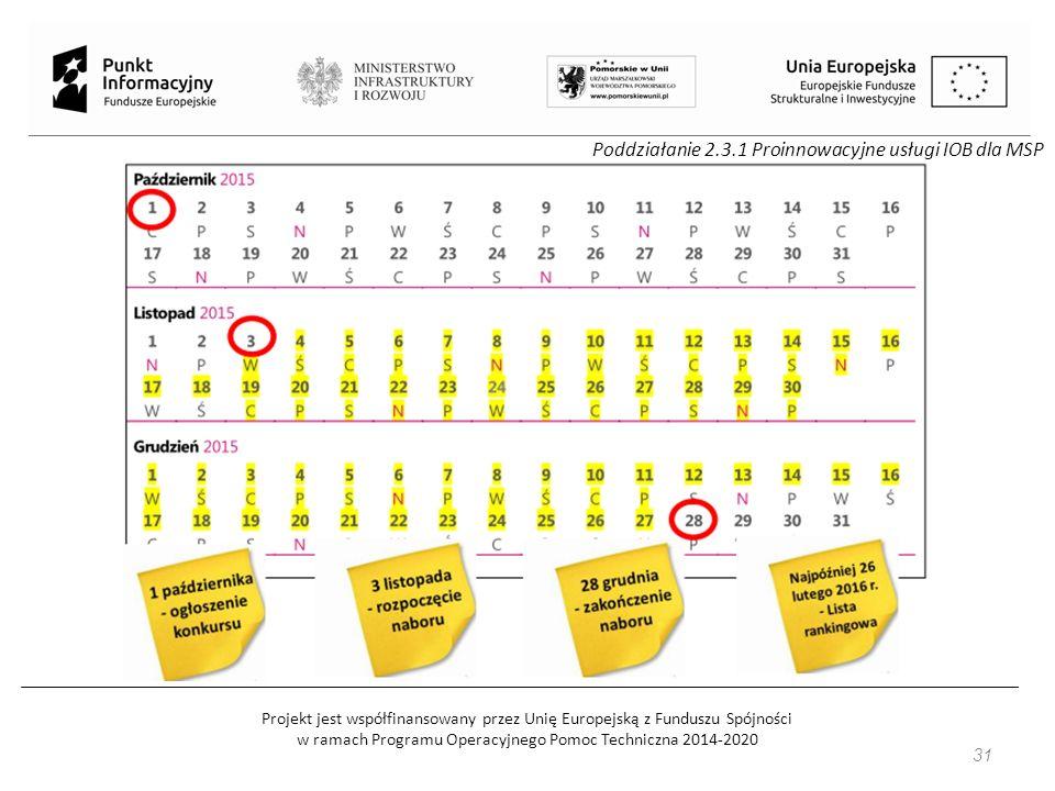 Projekt jest współfinansowany przez Unię Europejską z Funduszu Spójności w ramach Programu Operacyjnego Pomoc Techniczna 2014-2020 31 Poddziałanie 2.3.1 Proinnowacyjne usługi IOB dla MSP