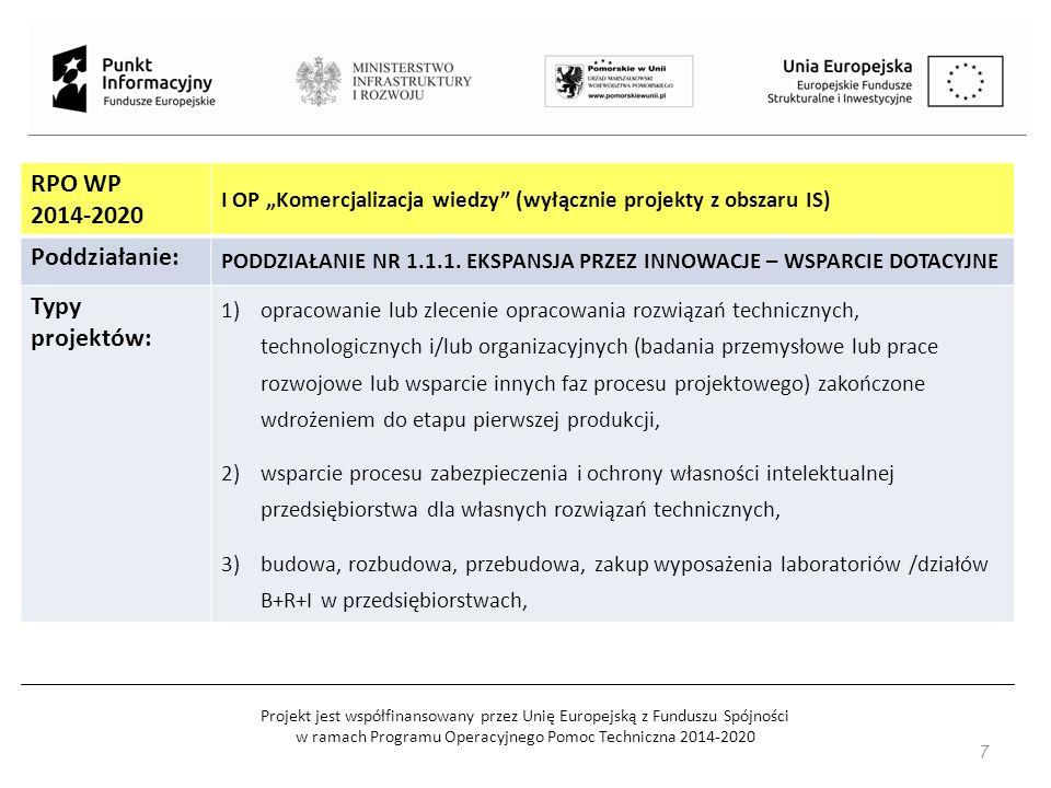 Projekt jest współfinansowany przez Unię Europejską z Funduszu Spójności w ramach Programu Operacyjnego Pomoc Techniczna 2014-2020 Typy projektów: 4)nabycie wyników prac B+R, praw do własności intelektualnej, w tym patentów, licencji, know-how lub innej nieopatentowanej wiedzy technicznej związanej z wdrażanym produktem lub usługą, 5)projekty badawczo-wdrożeniowe, zmierzające do komercjalizacji wyników, realizowane przez instytucje B+R we współpracy z przedsiębiorcami.